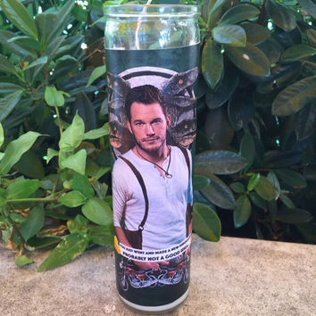 Chris Pratt prayer candle, jurassic prayer candle, raptor prayer candle