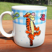 1997 Vintage Disney Blue and White Gingham Tigger Coffee Mug, Winnie the Pooh, Tigger Picnic Cup, Licensed Disney Coffee Cup, By Sakura