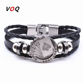 Lucky Spade Straight Flush Poker Handmade Charm Bracelet Men Friendship Leather Bracelet homme Jewelry G18\19