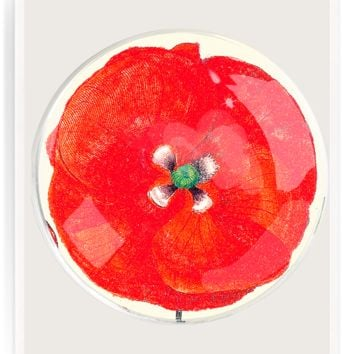 Ben's Garden | Red Paper Poppy Round Decoupage Glass Tray