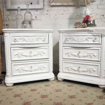 Painted Cottage Chic Shabby White French Night Table