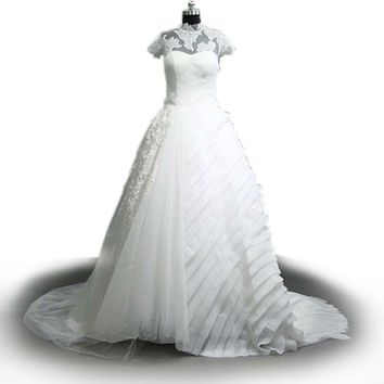 Wedding Dress White Lace Embroidery Short Sleeve Bridal Gown High Neck Long A-line Wedding Gowns