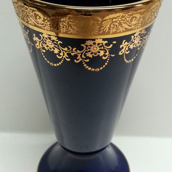 Tumbler Footed Vase Cup Artisanal Limoges Porcelain Cobalt Blue Gilded