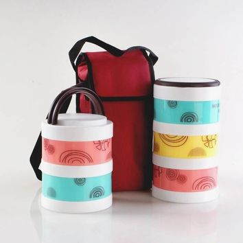 Ceramic Lunch Box Microwave Heating 3 Layers Fashion Cute Baby Lunch Boxes with Tableware