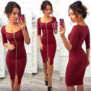 Tight Low Cut Bodycon Dress Red Zipper Evening Party Dress