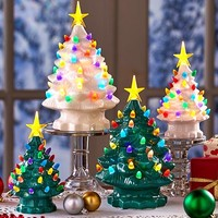 Retro Lighted Ceramic Table Top Christmas Tree Green or White Large or Small