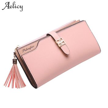 Aelicy Vintage Matte Women Wallets Long Wallet Female PU Leather Lady Clutch Purse Carteira Feminina Wallet for Credit Cards