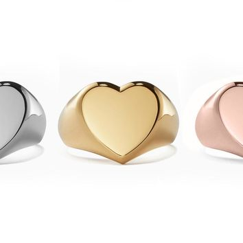 Valentines Inspired Heart Shaped Signet Cocktail Ring Set in 18K Gold Plating