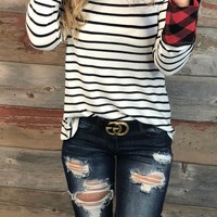 Comfort Times Striped Long Sleeve Top: White
