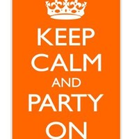 Rikki KnightTM Keep Calm and Party On - Orange Color Design iPhone 4 & 4s Case Cover (White Rubber with bumper protection) for Apple iPhone 4 & 4s
