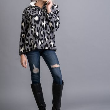 Grey and Black Leopard Pullover