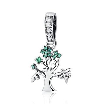 XingYue Jewelry Sterling Silver Family Tree of Life Dangle Charms with Green Birthstone Charms for Snake Chain Bracelets