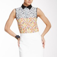 Yigal Azrouel | Yigal Azrouel Sleeveless Leather Collar Floral Ikat Silk Tank | Nordstrom Rack