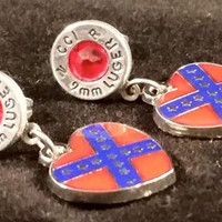 9mm Aluminum Stud Dangle Earrings With Confederate heart flag charm Swarovski crystals (July)