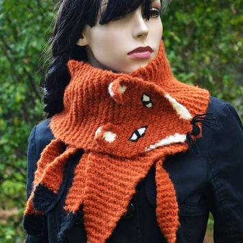 Hand Knit Fox Scarf  in Red Orange , neck warmer , Fox Scarf