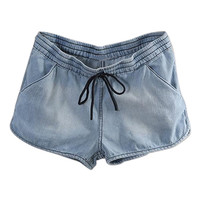 ROMWE Washed Drawstring Elastic Light-blue Denim Shorts