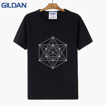 Sacred Geometry Minimal Hipster Line Art T Shirt For Men Design Family T-Shirt 2018 Funny Casual Humorous Tshirt Plus Size 3xl