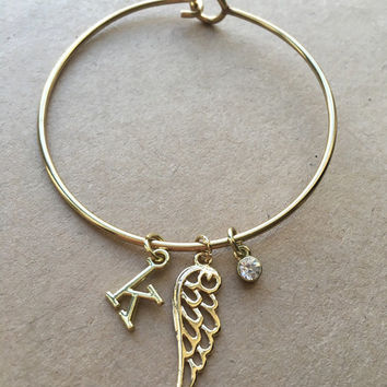 Personalized Angel Wing Charm Bracelet- Alex and Ani Inspired