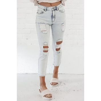 Not Your Moms Distressed Denim Skinnies