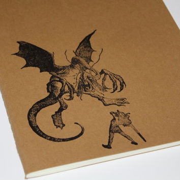 Alice in Wonderland The Jabberwock Large Journal Notebook Lined Hand Stamped