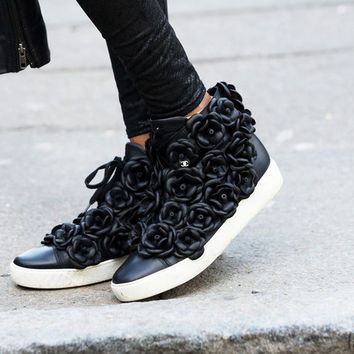 Indie Designs Chanel Inspired Camellia Flower High Top Sneakers