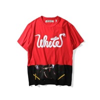 kuyou Off-White Red Patchwork T-Shirt