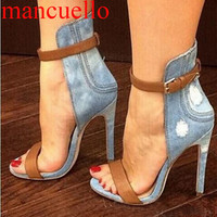 Sexy Retro Frazzle  Denim Cloth Cover Heels Sandals Women Ankle Buckled Cowboy Thin High Heel Sandals Summer Simple Dress Shoes