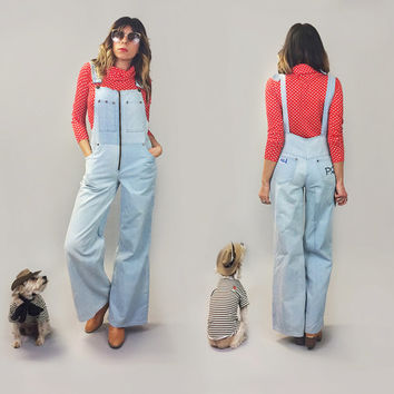Vintage 1970's BELLBOTTOM High Waisted Overalls Light Wash || Vintage Denim Bell Bottom P.Q Over Alls Onesuit Panstuist || Size Medium
