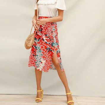 Multicolor Shift Allover Daisy Button Detail Split Midi Skirt Women Pastoral Casual A-Line High Waist Skirts