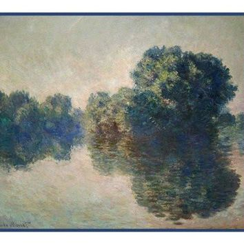 The Seine at Giverny inspired by Claude Monet's impressionist painting Counted Cross Stitch or Counted Needlepoint Pattern