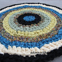 Eye of the storm crocheted circle rag rug, eco friendly, washable, bright colors, durable, bath mat, kitchen,  yellow gingham, blue leopard