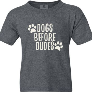 Dogs Before Dudes Funny Short Sleeve Shirt