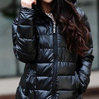 Black Quilted Long Sleeve Hooded Cotton Padded 3/4 Length Puffer Coat
