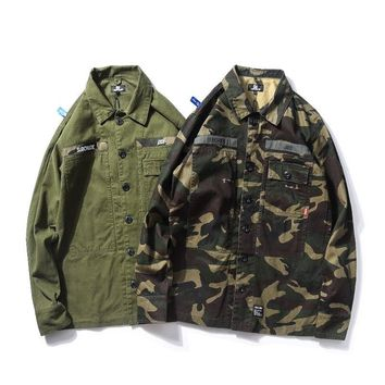 O Neck Kanye West Camouflage Outerwear Homme Safari Style Purpose Tour Military Army Kanye West Jacket Men Windproof Pocket