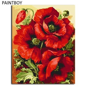 red flower diy frameless pictures painting by numbers diy digital canvas oil painting home decor for living room gx7662 40 50cm