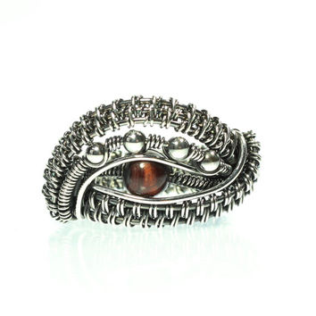 Silver and Tiger's Eye Wire Wrapped Ring, Sterling Jewelry, Women's, Men's, Unisex, Cocktail Ring, Statement, Size 9, Woven, Red Tiger's Eye