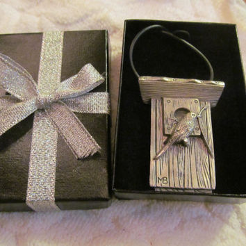 Pewter Bird House with Chickadee Necklace For The Bird Lover Gift Box Included