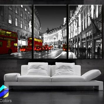 "LARGE 30""x 60"" 3 Panels Art Canvas Print Beautiful London England Bus Red night Wall Home decor design interior design ( framed 1.5"" depth)"