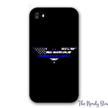 Batman Thin Blue Line Flag Phone Case for Apple iPhone 4, 5, 5c, 6 and 6 plus & Samsung Galaxy s3, s4 and s5 and Phone Stand
