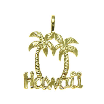 14K SOLID YELLOW GOLD MEDIUM DIAMOND CUT HAWAIIAN PALM TREE HAWAII PENDANT CHARM