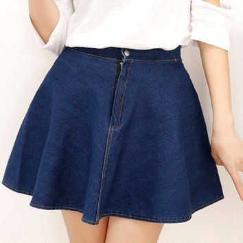 2015 New Korean Popular Summer Women Casual High Waist Big Swing Denim Skirts tutu Dress Above Knee Mini Solid A-line Pleated Skirts jeans