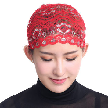 Women Lace Inner Hijab Cap Muslim Turban Stretchy Shinning Islamic Bonnet Outside Underscarf Islamic Head Cover SM6