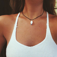 Dark brown leather puka shell necklace