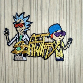 Rick and  Morty Get Schwifty Patch(Iron-on & Sew-on)(FREE SHIPPING/TRACKING)