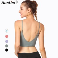 Women Sports Bra Shake proof Backless Fitness Bra Running Top Shirt Yoga Bra Workout Gym Top Bra Athletic Sport Tank Top Black