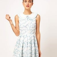 Nishe Embroidered Clouds Prom Dress With Detachable Collar at asos.com