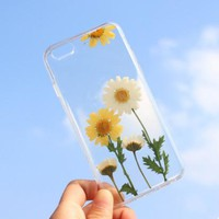 Handmade 3D Amber feeling Real Flowers Pressed Soft Case for Apple iPhone 8 5SE 6 6s 7plus for samsung s7 edge Shell Cover cases