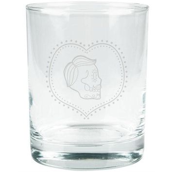 PEAPGQ9 Valentines Male Sugar Skull Etched Glass Tumbler