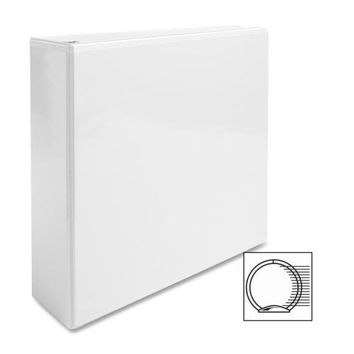 """Business Source View Binder, w- 2 Inside Pockets, 3"""" Capacity, White - CASE OF 5"""
