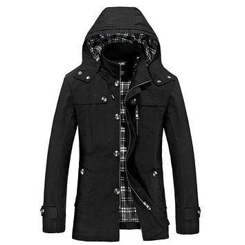 Mens Hooded Mid Length Winter Trench Coat